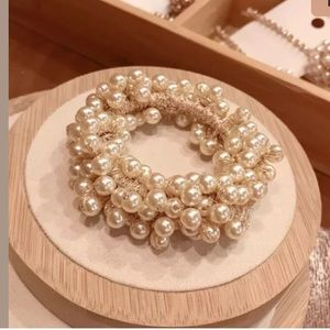 Champagne Colored Pearl Scrunchie